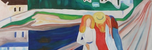 Three girls on a bridge
